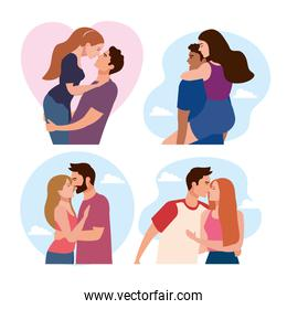 bundle of four couples lovers characters