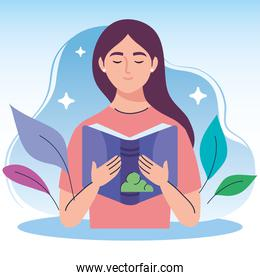 woman reading text book and leafs character