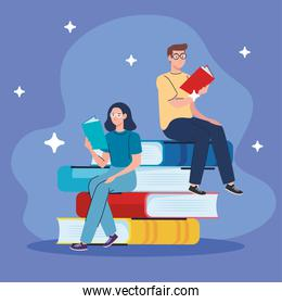 couple reading text books seated in books characters