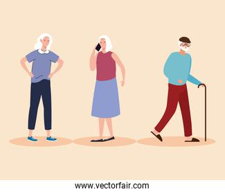 group of three elderly old people characters