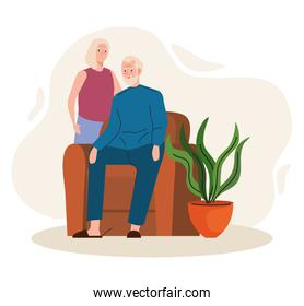 elderly old couple seated in the livingroom characters