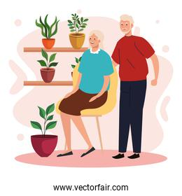 elderly old couple seated in the chair in the garden characters