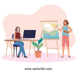 creative young women using computer and painting picture characters