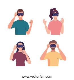 group of four young people using reality virtual masks technology devices
