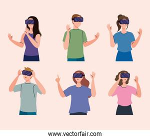 group of six young people using reality virtual masks technology devices