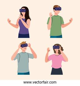 group of four young people using reality virtual masks technology