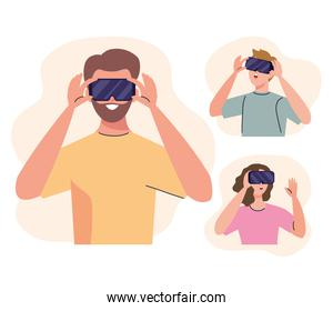 group of three young people using reality virtual masks technology