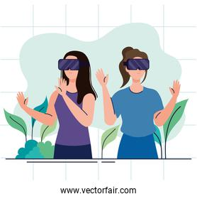 young girls using reality virtual masks technology devices