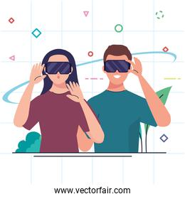young couple using reality virtual masks technology devices