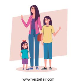 mother with daughters avatars characters