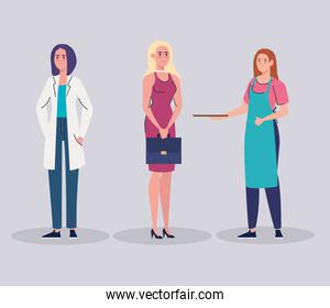 group of female workers characters