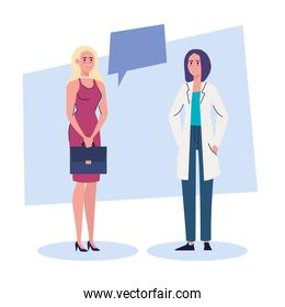 professional female doctor and businesswoman characters