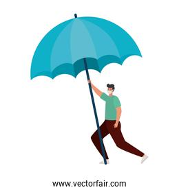 man with one safety mask and one umbrella