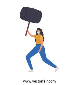 woman with one safety mask and one gray hammer