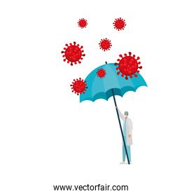male doctor with one safety mask, red particles and one umbrella