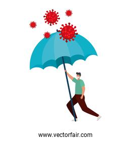 man using face mask with umbrella for protection covid 19