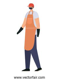delivery man with safety mask and one apron