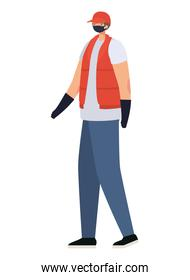 delivery man with safety mask and one vest