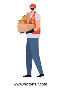 delivery man with safety mask and one box full of market products