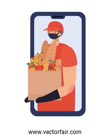 online ordering and delivery man with safety mask and one paper bag full of market products on a phone