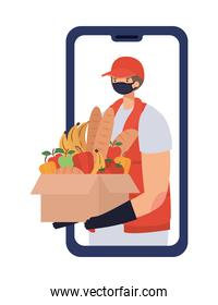 online ordering and delivery man with safety mask and one box full of market products on a phone