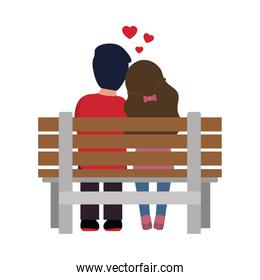 Valentines day concept, couple in love sitting on a bench, flat style