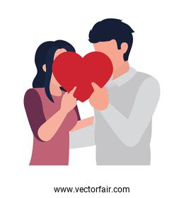 couple in love covering their faces with a heart, flat style