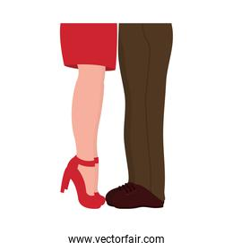 Valentines day concept, couple feets standing while they are kissing, flat style