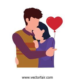 loving couple embracing each other holding a heart balloon, flat style