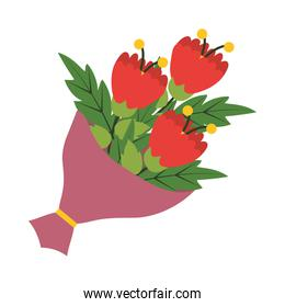 beautiful flowers bouquet icon, flat style