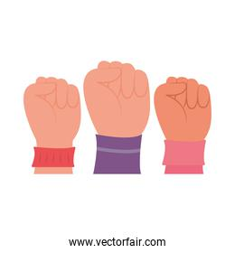 girl power concept, women fists up icon, flat style
