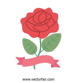 red rose with pink ribbon, flat style
