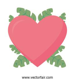 pink heart with tropical leaves, flat style