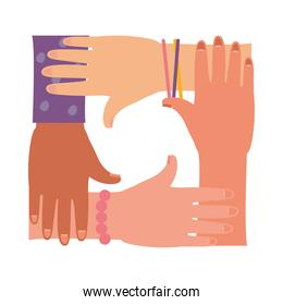 girl power design with women unity hands, flat style