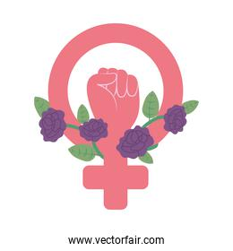 girl power design, female gender symbol with fist and purple flowers, flat style