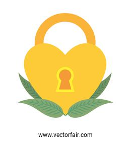 yellow heart shaped padlock and leaves, flat style