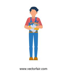 construction worker holding tools box, flat style