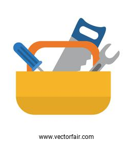 construction tools box icon, flat style