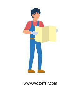cartoon worker holding a construction plans, flat style
