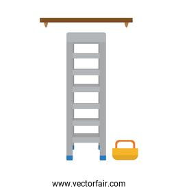 ladder, wooden shelf and tools box, flat style