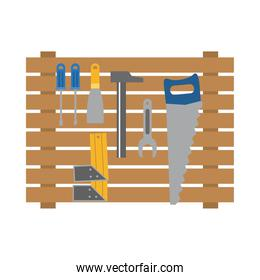 wooden stand with construction tools, flat style
