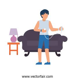 daily routines design, man exercising in the living room, flat style
