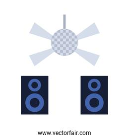 disco light and sound baffles icon, colorful design