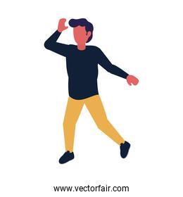 icon of man dancing, colorful design