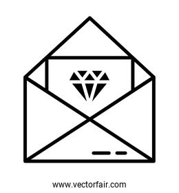 Envelope with card with a diamond icon, line style