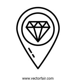 location pin with diamond icon, line style
