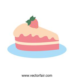 piece of cake hand drawn icon, colorful design