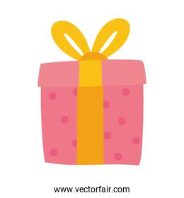 pink gift box hand drawn icon, colorful design