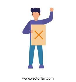 cartoon man protesting holding a placard with a cross symbol, colorful design
