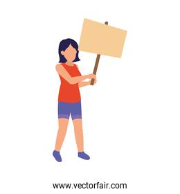 cartoon woman protesting holding up a blank placard, colorful design